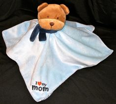 Carters Child of Mine Security Blanket Lovey Blue Rattle Teddy Bear 0-3 Years #CartersChildofMine