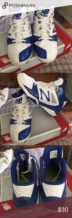 LIKE NEW GENTLY USED NEW BALANCE HIGH TOP SNEAKERS Color BLUE AND WHITE NO RIPS TEARS OR NO SPOTS WORN OUT New Balance Shoes Athletic Shoes