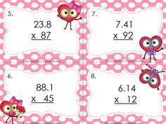 These Valentine's Day Decimal Math Centers (4th-6th) are focused on multiplying and dividing decimals and include: Task Cards, Independent Work and a Math Game. Skills include multiplying and dividing decimal amounts, decimal patterns when multiplying or dividing by powers of 10, finding missing factors & comparing decimal amounts. Just print, organize & your math centers are set for the week - allowing you to meet with guided math groups for intervention and enrichment. $…