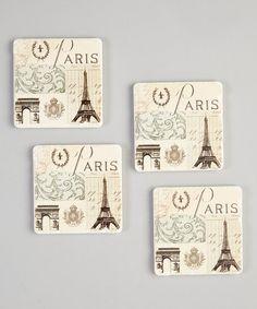 Look what I found on #zulily! 'Paris' Tumbled Tile Coaster Set #zulilyfinds