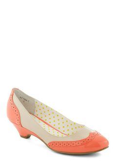 "Sweet Spectator Heel in Melon, #ModCloth. These sing ""Mary Poppins!"""