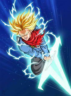 Super Saiyan Rage Future Trunks using the Light Sword - Visit now for 3D Dragon Ball Z compression shirts now on sale! #dragonball #dbz #dragonballsuper