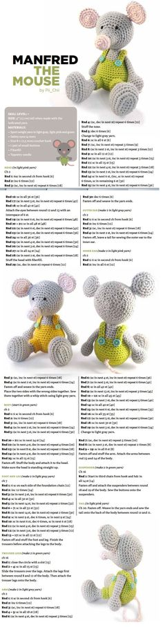 #crochet, free pattern, Mouse, amigurumi, stuffed toy, #haken, gratis patroon…
