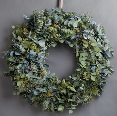 Wild at Heart Mixed Eucalyptus Wreath. This wreath includes baby blue, silver dollar and flowering eucalyptus.