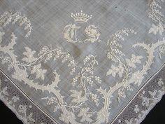 Maria Niforos - Fine Antique Lace, Linens & Textiles : Antique Lace # LA-156 Circa 1800's, Fine Whitework Hankerchief w/ Crown & Bobbin Lace