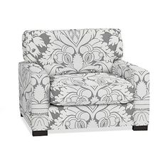 Turner Square Arm Upholstered Armchair without Nailheads, Down Blend Wrapped Cushions, Damask Print Ebony