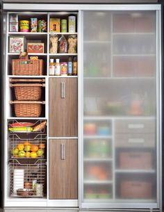 Pantry Sliding Doors - modern - kitchen - new york - by transFORM Food Storage Cabinet, Pantry Storage, Kitchen Storage, Storage Cabinets, Cupboard Shelves, Pantry Organization, Extra Storage, Sliding Pantry Doors, Kitchen Pantry Doors