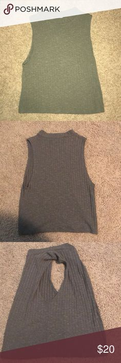NWOT Ribbed Women's Crop Soft and comfortable long crop top from AE. Army green. Never worn American Eagle Outfitters Tops Tank Tops