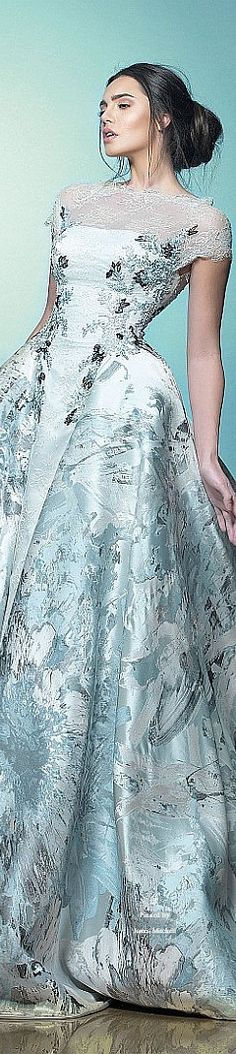 A different take on a wedding dress with a print:                     Saiid Kobeisy Spring-summer 2015
