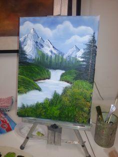 Mijn eigen Bob Ross! Small Canvas Paintings, Nature Paintings, Beautiful Paintings, Landscape Paintings, Canvas Art, Acrylic Painting Lessons, Acrylic Art, Diy Painting, Painting Techniques