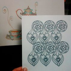 Lace pattern pencil drawing, sketch. By Shalom Schultz Designs.
