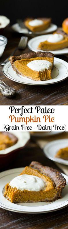 Paleo Pumpkin Pie with Pecan Coconut Crust - Grain free, dairy free, gluten free, naturally sweetened with dates and raw honey Dessert Sans Gluten, Low Carb Dessert, Paleo Dessert, Dessert Recipes, Weight Watcher Desserts, Paleo Pumpkin Pie, Pumpkin Pie Recipes, Paleo Baking, Baking Recipes