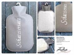 Wärmflasche 'Schatziersatz' -- 100% Schurwolle dunkelgrau 140 - GummiWärmflasche weiss - Kaninchen Castor Rex naturweiss bayrisch glücklich - Grösse 26 x 16 cm