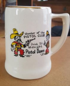 Vintage Novelty Pistol Club Mug Stein Drink Till Midnight &
