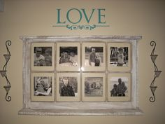 Window frame with pictures.