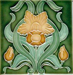 Art Tile, Art Nouveau Flowers, Gold and Green on Dark Green