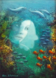 Original Oil on Board Signed Painting by Rina Sutzkever Woman's Face and a Hamsa in an Ocean with fish Unique Art Hamsa, Woman Face, Mermaid Art, Painted Signs, Deco, Shades Of Green, Unique Art, Ocean, Original Paintings