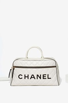 Vintage Chanel White Leather Duffle