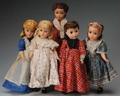 """Set of 5 Madame Alexander """"Little Women"""" Dolls.  My Aunt began buying me one of these for my birthday beginning in 1958. I still have them."""