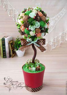 """Топиарии ручной работы. Ярмарка Мастеров - ручная работа. Купить Топиарий, интерьерное деревце счастья """"Брауни"""".. Handmade. Комбинированный, розы"""