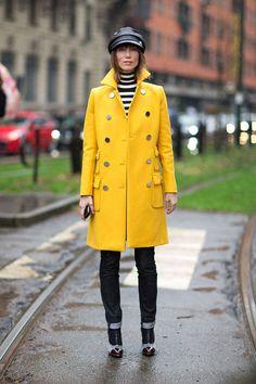Beautiful yellow coat  Hats trend 2014 from Milan Fashion Week