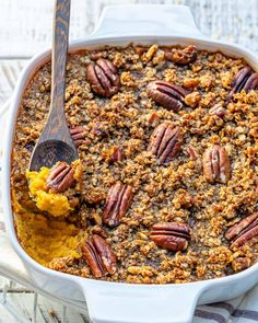 Healthy and Scrumptious Butternut Squash Casserole Recipe Topped with Toasty Pecan Crust Vegetarian Thanksgiving, Thanksgiving Recipes, Fall Recipes, Dinner Recipes, Healthy Casserole Recipes, Healthy Recipes, Pumpkin Recipes, Vegetable Recipes, Butternut Squash Casserole