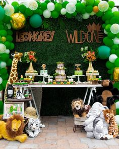 Safari Party Table from a Safari Wild ONE Birthday Party Safari Party, Safari Theme Birthday, Boys First Birthday Party Ideas, Wild One Birthday Party, Birthday Themes For Boys, Baby Boy First Birthday, Safari Birthday Party, Boy Birthday Parties, Birthday Party Decorations