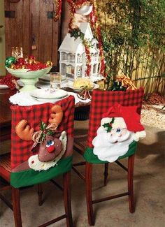 Christmas decor trends part 1 Christmas Sewing, Christmas Projects, Christmas Home, Christmas Holidays, Christmas Ornaments, Indoor Christmas Decorations, Holiday Decor, Christmas Chair Covers, Diy Weihnachten