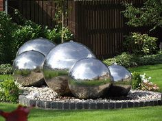 Water Photograph - Chrome Steel Water Feature by Dawn Hay Sphere Water Feature, Diy Water Feature, Backyard Water Feature, Small Water Features, Water Features In The Garden, Garden Features, Garden Design Pictures, Home Garden Design, Outdoor Garden Rooms