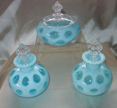 "MINT~VINTAGE~40s""FENTON GLASS""6pc""BLUE""OPALESCENT""COIN DOT""PERFUME/POWDER/VANITY"