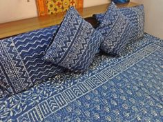"""indigo Blue 265 x 216 cm Handmade cotton block print Indian bedding set bedspread kantha queen king quilted coverlet tapestry 104""""x85"""" DB39"""