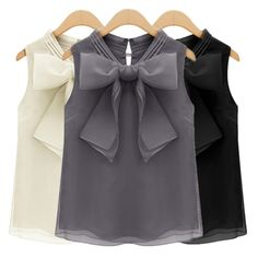 Cheap shirt uniform, Buy Quality shirt fashion directly from China shirt Suppliers: Women's fashion Summer shirts sleeveless Organza Chiffon vest shirt Blouse Bow Lace Shirt Tops NOTE: Ple Bow Shirts, Shirt Blouses, Loose Shirts, Chiffon Shirt, Chiffon Blouses, Summer Shirts, Women's Summer Fashion, Casual Tops, Casual Chic