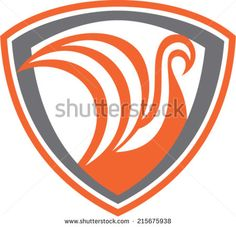 Illustration of a swan or a viking ship with sails viewed from side set inside shield crest done in retro style. - stock vector #galleon #retro #illustration