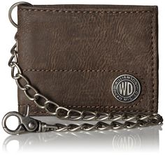 3bb6bde60c47 Textured-leather bifold wallet featuring oxidized-metal chain with  lobster-claw clasp and logo plate at front. Dickies trifold wallet with  chain.