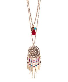 Look what I found on #zulily! Red & Goldtone Double-Chain Dreamcatcher Pendant Necklace #zulilyfinds