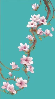 "Life in Turquoise- Life in Turquoise chasingrainbowsforever: "" Colors ~ Aqua and Pink "" - Cherry Blossom Wallpaper, Cherry Blossom Art, Chinese Painting, Chinese Art, Illustration, Arte Floral, Art Graphique, Silk Painting, Asian Art"