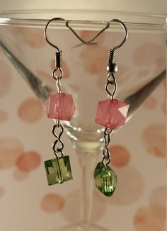 Pink & Green Earrings by CinnamonCreations14 on Etsy