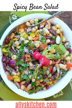 It's the kind of salad that can be in the refrigerator for several days and get better and better. #beansalad #easysalad Good Healthy Recipes, Easy Recipes, Grilled Roast, Breakfast Recipes, Dinner Recipes, Best Beans, Bean Salad, Easy Salads, Quick Easy Meals