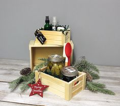 Gift giving at Christmas time does not have to create more waste. Get creative and put your gift basket items in a wood crate, a galvanized metal bucket or any other container that can be used after the holidays. #giftbasketcrates #giftbaskets #giftbasketideas Merry Christmas Happy Holidays, Christmas Time, Wood Crates, Galvanized Metal, Giving, Gift Baskets, Eco Friendly, Bucket, Container