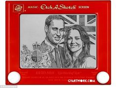 Prince William and Kate Middleton Etch a Sketch