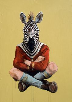 """""""Little Zebra- Balanced Individual"""" by Michael McConell   36"""" x 24"""", acrylic on wood, 2010 - michaelmcconell.prosite.com"""