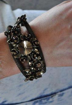 bronze jewel & rose detail cuff Asos, Bronze, Jewels, Boutique, Detail, Bracelets, Leather, Women, Style