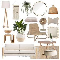 Naturals and Neutrals | Yesterday I gave myself the day off from client briefs and what did I end up doing? Making this mood board 🙈… Mood Board Interior, Home Living Room, Room And Board Living Room, Coastal Living Rooms, Living Room Designs, Living Room Decor, Boho Style Decor, Bali Style, Estilo Tropical