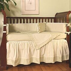 Our Hoohobbers Regal baby crib bedding in alternating rows of soft, light green stripes and checks. Baby Gifts For Dad, Baby Crib Bedding, Nursery Design, Green Stripes, Cribs, Comforters, Blanket, Celery, Furniture