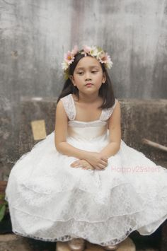 Lace Flower Girl Dress-Ivory Lace Dress/Rustic Flower Girl/-Vintage Wedding-Shabby Chic Flower Girl Dress by Happy2sisters on Etsy https://www.etsy.com/listing/239500814/lace-flower-girl-dress-ivory-lace