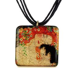 "4135-14 - 1"" Square Klimpt ""Mother and Child"" Pendant on Cord originjewelry.net"
