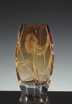 Blossom 2794, hand cut and engraved underlay vase, motif Poppy » Moser glassworks - Luxury Bohemian Crystal Glass