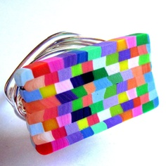 Wire Wrap Ring Polymer Clay Rainbow Colors by gimmethatthing, £9.90