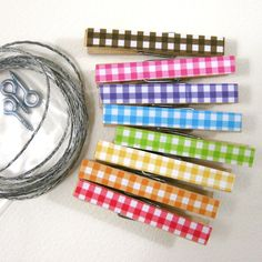Gingham clothespin kit