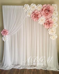 Backdrop with ROSES in colors white and light pink. Bridal shower or wedding photo wall&Minus the niddle drapijg and adding in grey leaves with a lighter pink flowerforceremony and reception backdropHow To Use Giant Paper Flowers At Your Wedding 31 – Fi Birthday Decorations, Baby Shower Decorations, Quinceanera Decorations, Shower Centerpieces, Paper Wedding Decorations, Pink Decorations, Birthday Backdrop, Quinceanera Party, Backdrop Decorations
